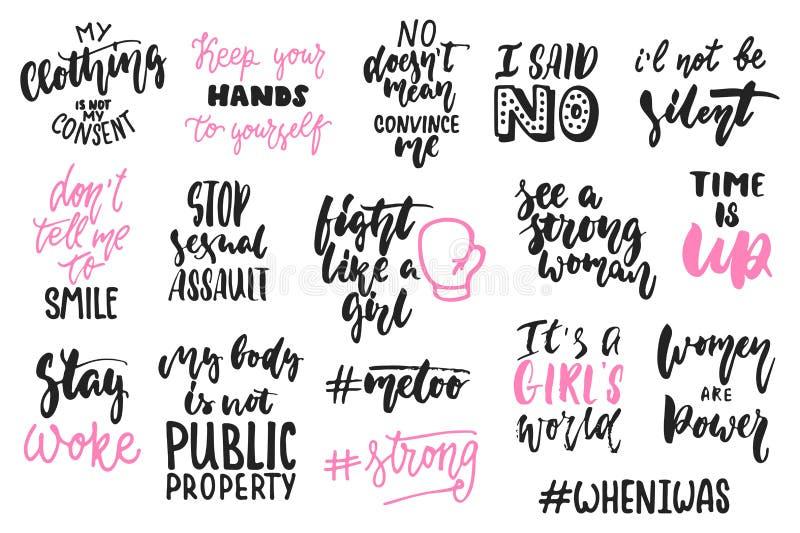 Hand getrokken die het van letters voorzien citaten over vrouwen, feminismeinzamelingen op de witte achtergrond worden geïsoleerd royalty-vrije illustratie
