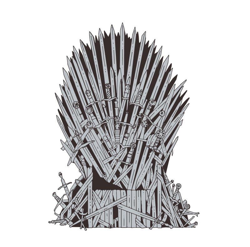 Hand getrokken die ijzertroon van Westeros van antieke zwaarden of metaalbladen wordt gemaakt Plechtige die stoel van wapen wordt vector illustratie