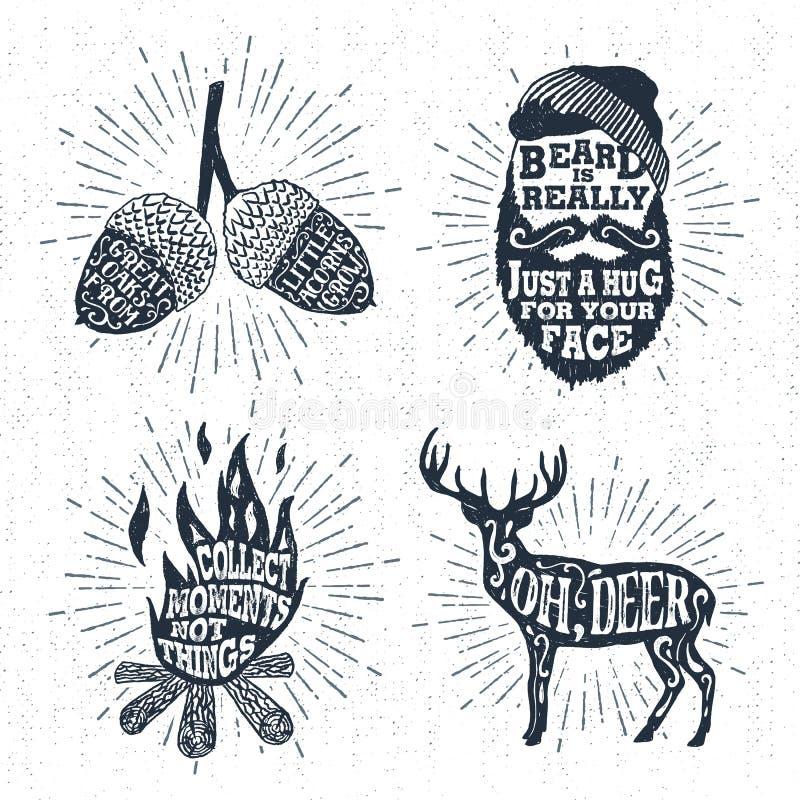 Hand getrokken die kentekens met eikels, gebaard gezicht, vuur, en hertenillustraties worden geplaatst vector illustratie