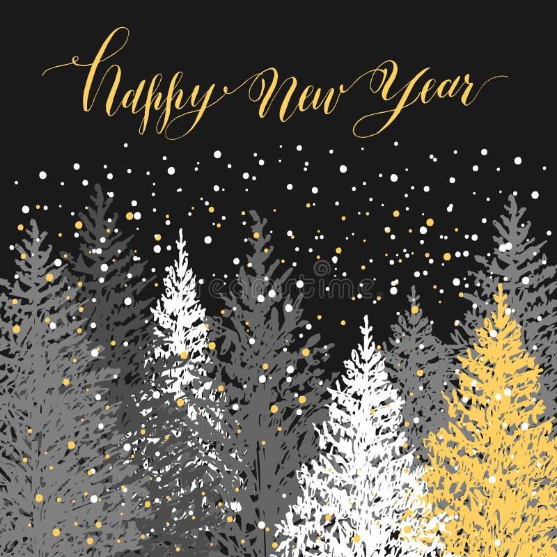 Hand getrokken die Kerstboom met gouden en witte sneeuwvlokken wordt verfraaid Het vectorontwerp van de groetkaart vector illustratie