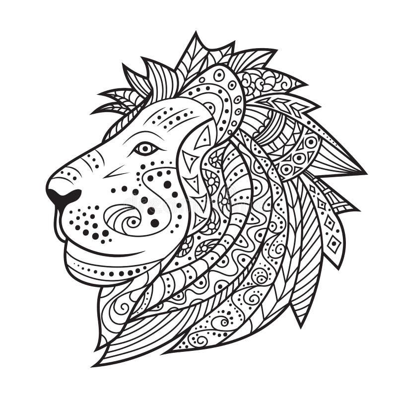 Hand getrokken die leeuw op witte achtergrond wordt geïsoleerd stock illustratie