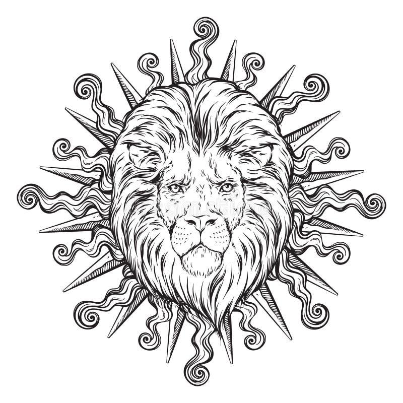 Hand getrokken die leeuwhoofd in zonstralen over witte vectorillustratie worden geïsoleerd als achtergrond Van de flitstatoegerin vector illustratie