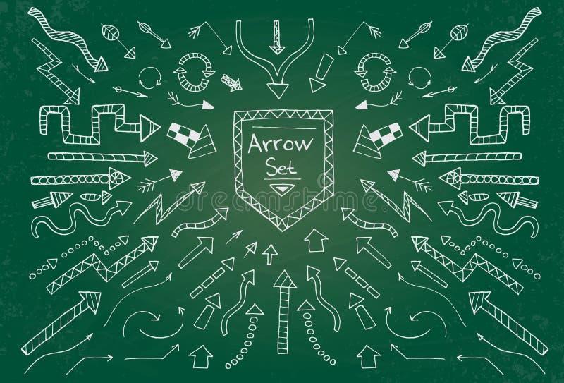 Hand getrokken die pijlpictogrammen op groen schoolbord worden geplaatst stock illustratie
