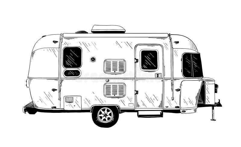 Hand getrokken die schets van aanhangwagen in zwarte op witte achtergrond wordt geïsoleerd De gedetailleerde uitstekende tekening vector illustratie