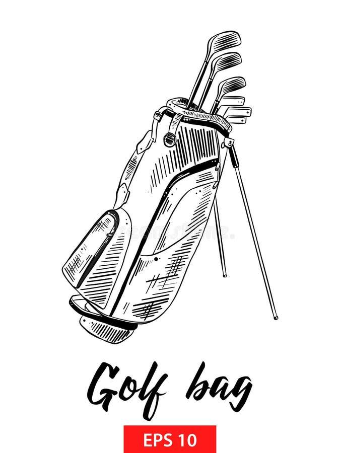 Hand getrokken die schets van golfzak in zwarte op witte achtergrond wordt geïsoleerd De gedetailleerde uitstekende tekening van  vector illustratie