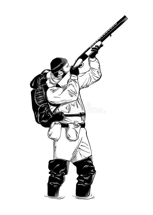 Hand getrokken die schets van jager met kanon in zwarte op witte achtergrond wordt geïsoleerd De gedetailleerde uitstekende teken vector illustratie