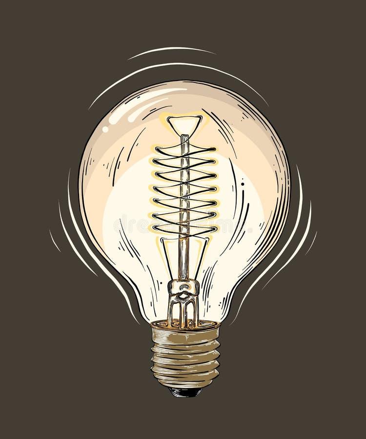 Hand getrokken die schets van lightbulb in kleur op donkere achtergrond wordt geïsoleerd Gedetailleerde uitstekende stijltekening vector illustratie