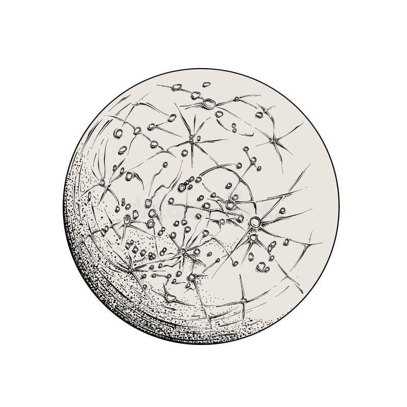 Hand getrokken die schets van Mercury in zwarte op witte achtergrond wordt geïsoleerd Gedetailleerde uitstekende stijltekening, v royalty-vrije illustratie