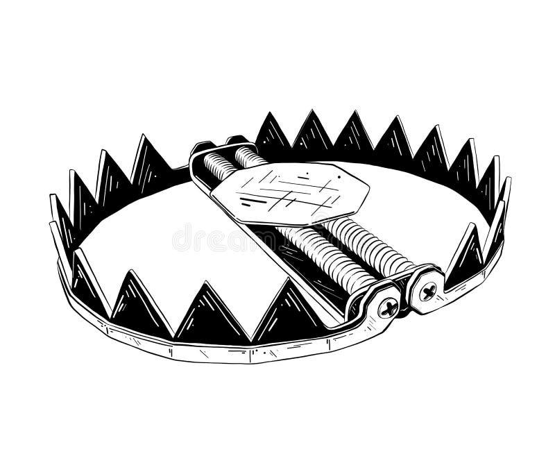 Hand getrokken die schets van metaalval in zwarte op witte achtergrond wordt geïsoleerd De gedetailleerde uitstekende tekening va royalty-vrije illustratie