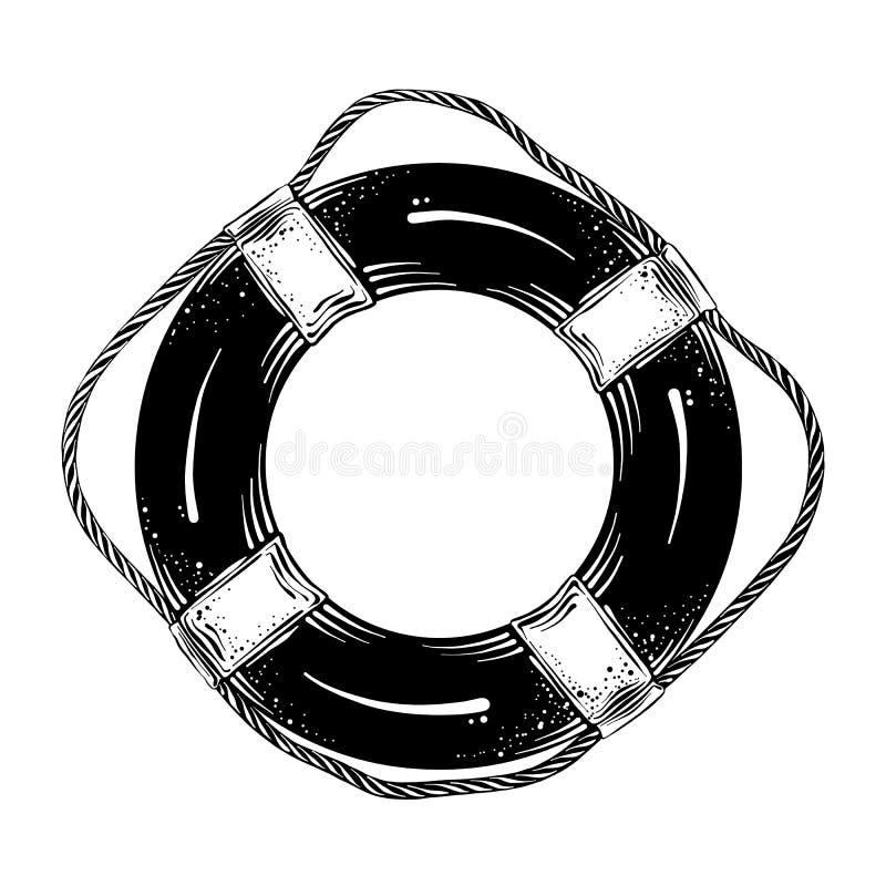 Hand getrokken die schets van reddingsboei in zwarte op witte achtergrond wordt geïsoleerd Gedetailleerde uitstekende stijltekeni vector illustratie