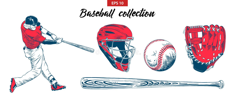 Hand getrokken die schetsreeks van honkbalspeler, helm, handschoen, bal en knuppel op witte achtergrond wordt geïsoleerd vector illustratie