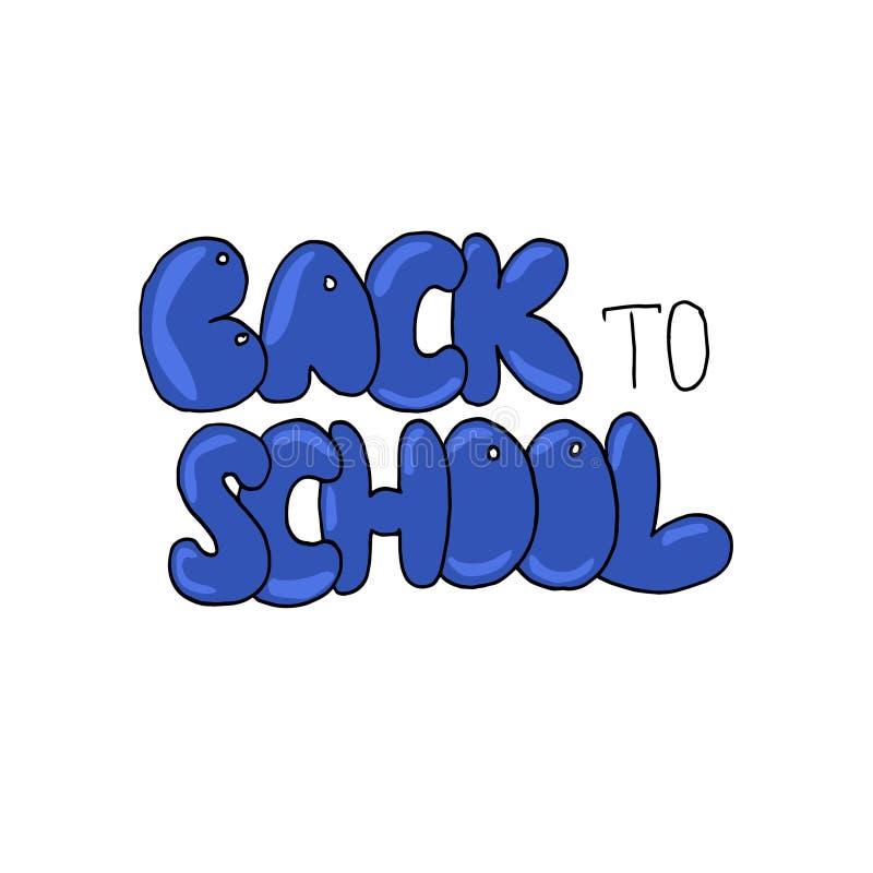 Hand getrokken die tekst terug naar School op witte achtergrond wordt geïsoleerd stock illustratie