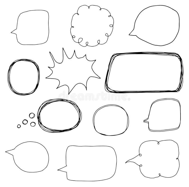 Hand getrokken die vector met de overzichten van de toespraakbel wordt geplaatst stock illustratie