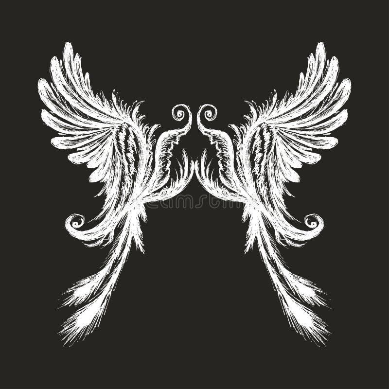 Hand getrokken die vleugels, op donkere achtergrond worden geïsoleerd royalty-vrije illustratie