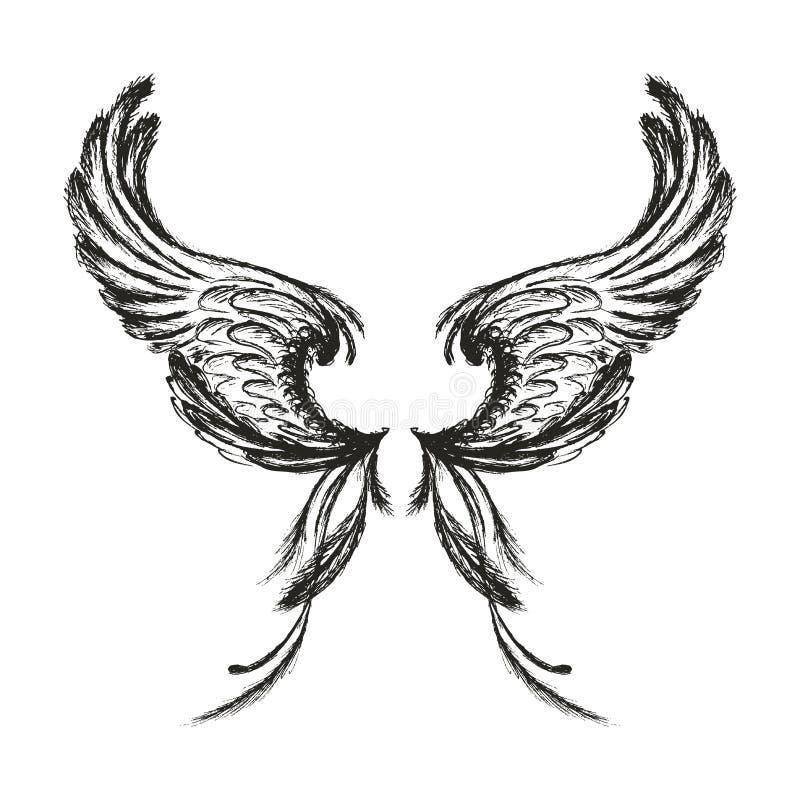 Hand getrokken die vleugels, op witte achtergrond worden geïsoleerd, vector illustratie