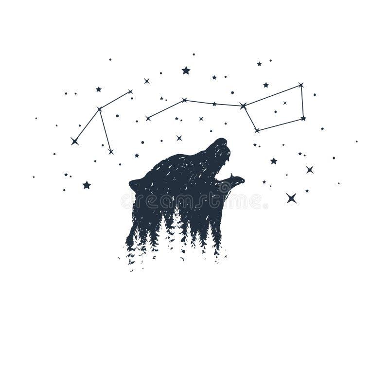 Hand getrokken dier en constellatie vectorillustraties stock illustratie