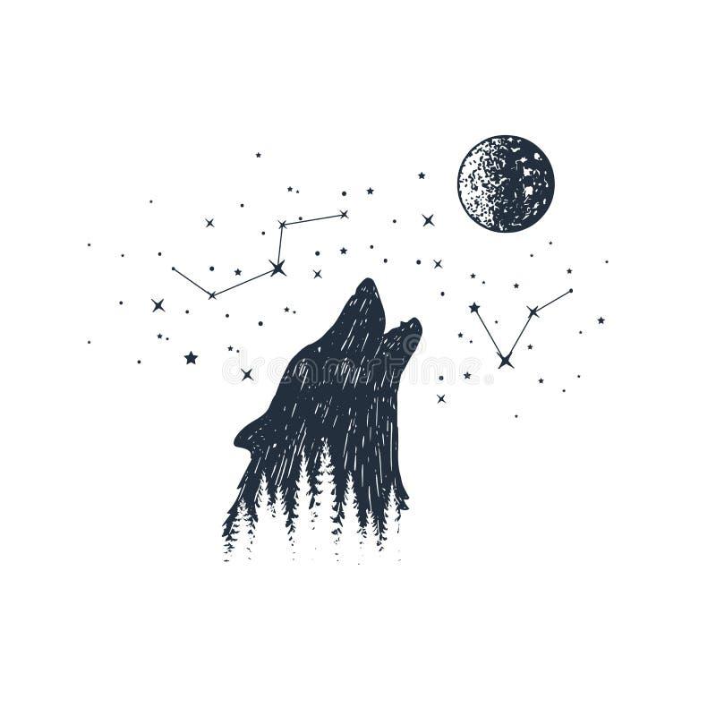 Hand getrokken dier en constellatie vectorillustraties royalty-vrije illustratie