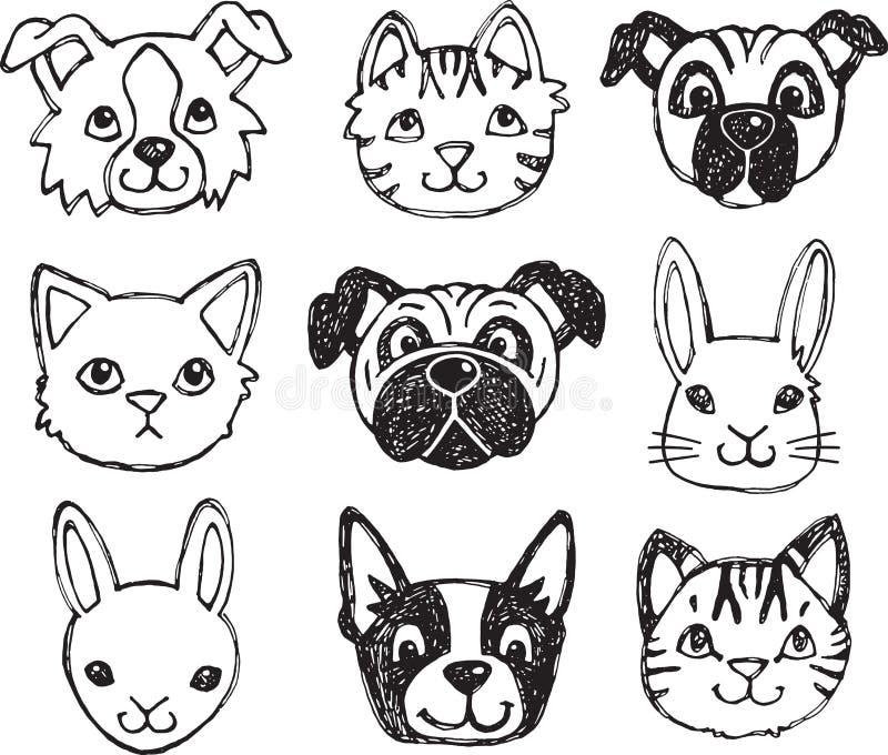 Hand getrokken dierlijke gezichten royalty-vrije illustratie