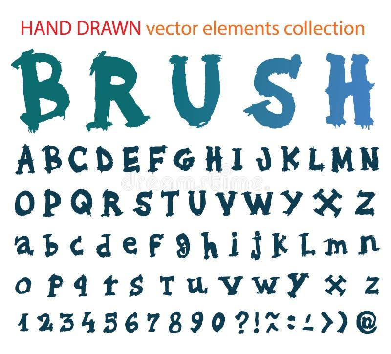 Hand getrokken doopvont - het alfabet van de borstelslag vector illustratie