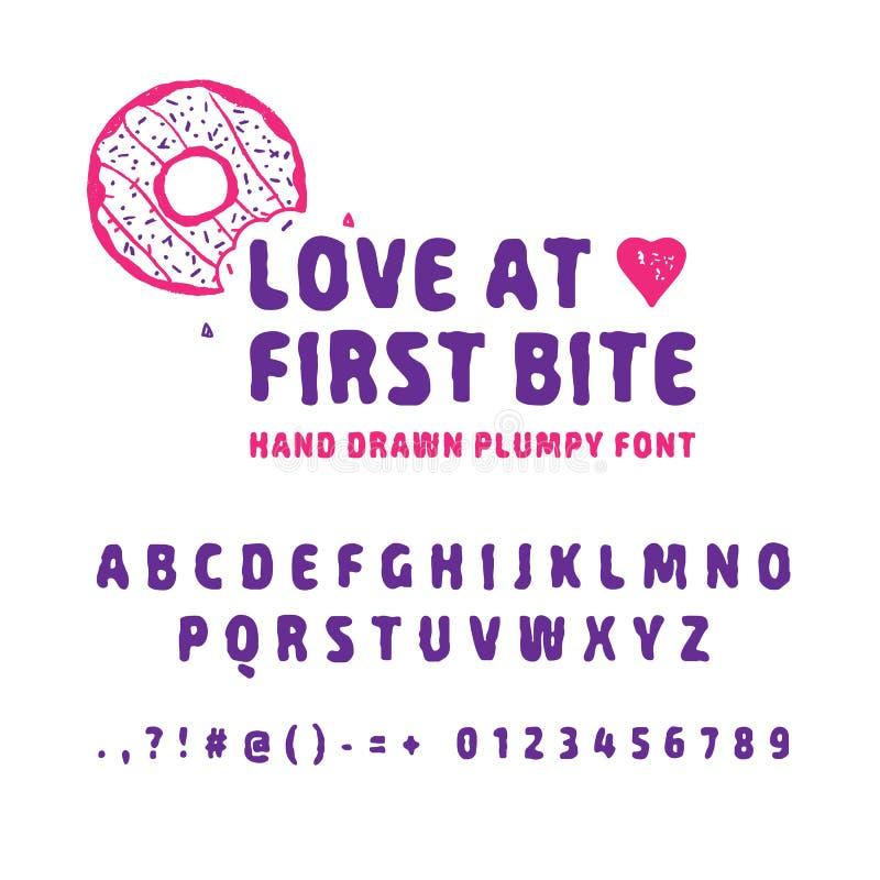 Hand getrokken doughnutdoopvont stock illustratie