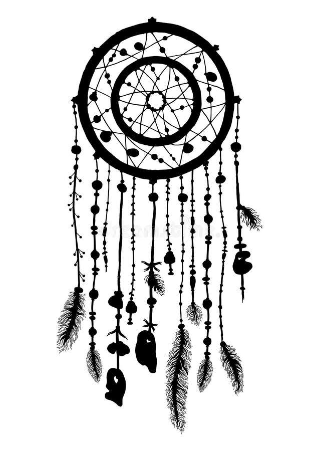 Hand getrokken dreamcatcher silhouet met parels en veren stock illustratie