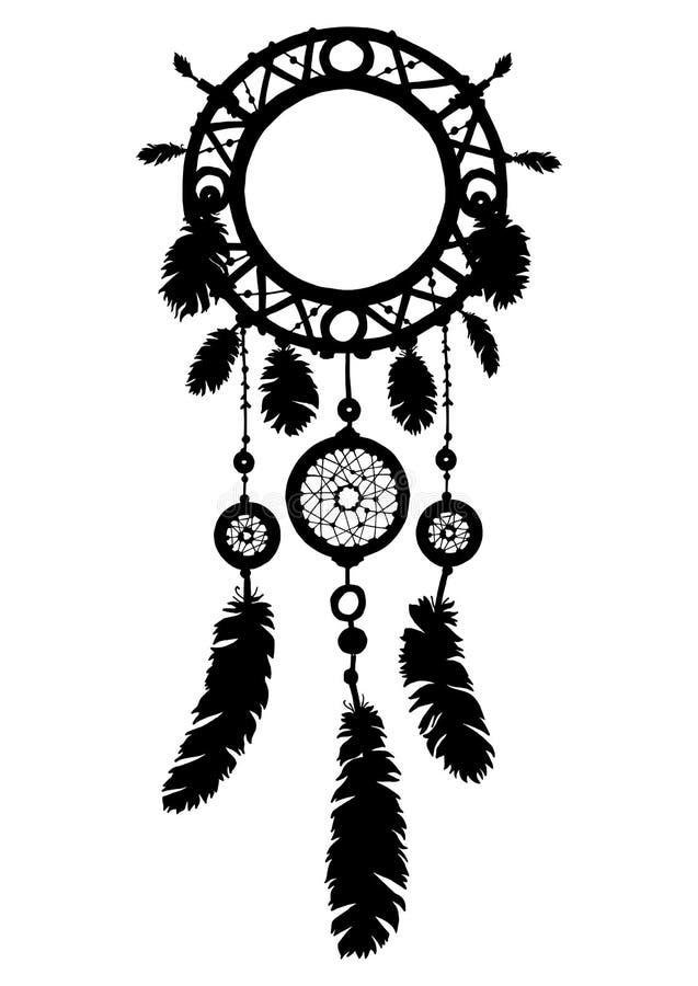 Hand getrokken dreamcatcher silhouet met parels en veren royalty-vrije illustratie
