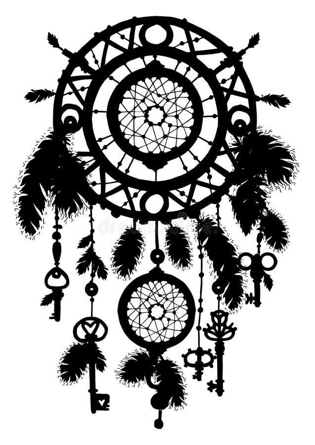Hand getrokken dreamcatcher silhouet met veren royalty-vrije illustratie