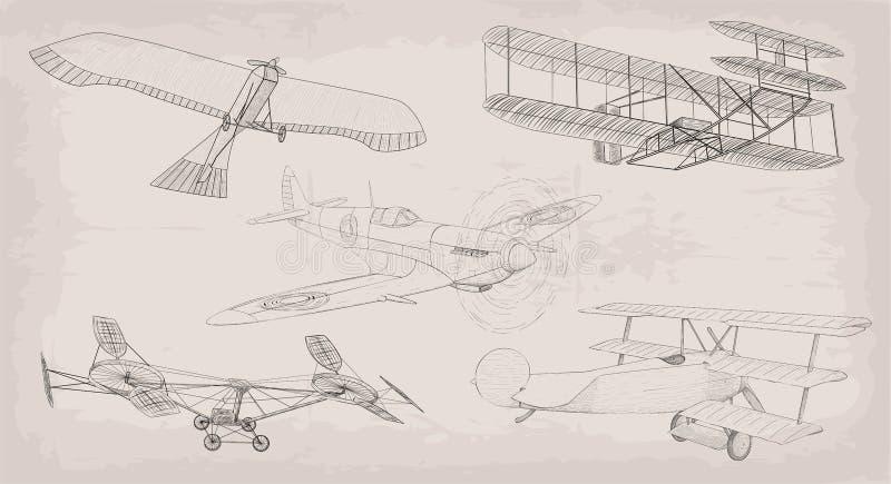 Hand getrokken elementenobjecten uitstekende luchtvervoerhelikopter, plan royalty-vrije illustratie