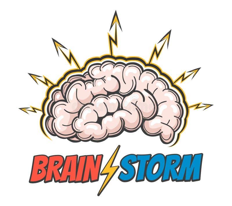 Hand Getrokken Embleem van het het denken proces, brainstorming, goed idee, hersenenactiviteit, inzicht Vector illustratie vector illustratie