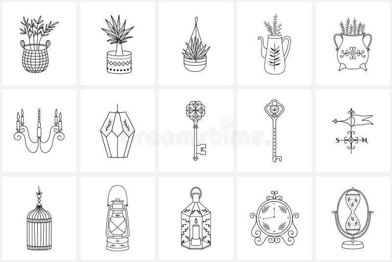 Hand getrokken embleemelementen en pictogrammen vector illustratie
