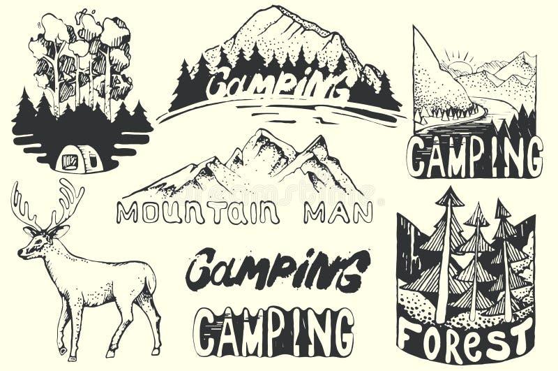 Hand Getrokken embleemreeks Retro inzameling van openluchtbedrijf, het kamperen, avonturenetiketten Oude stijlelementen, berg stock illustratie