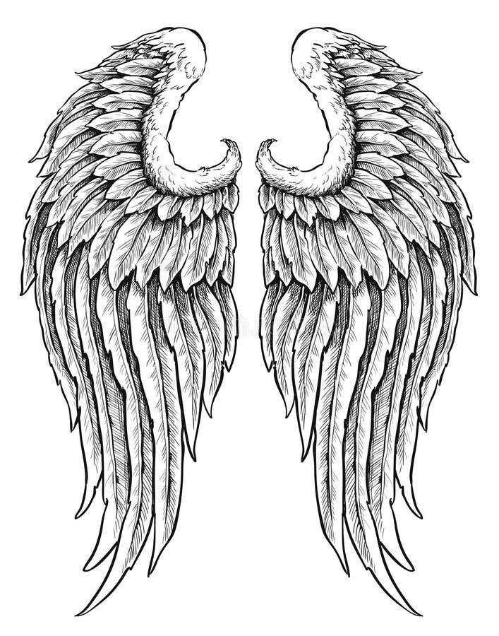 Hand getrokken engelenvleugels royalty-vrije illustratie