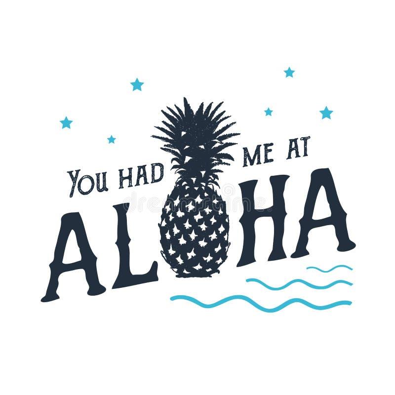 Hand getrokken etiket met het geweven ananas vectorillustratie en van letters voorzien vector illustratie