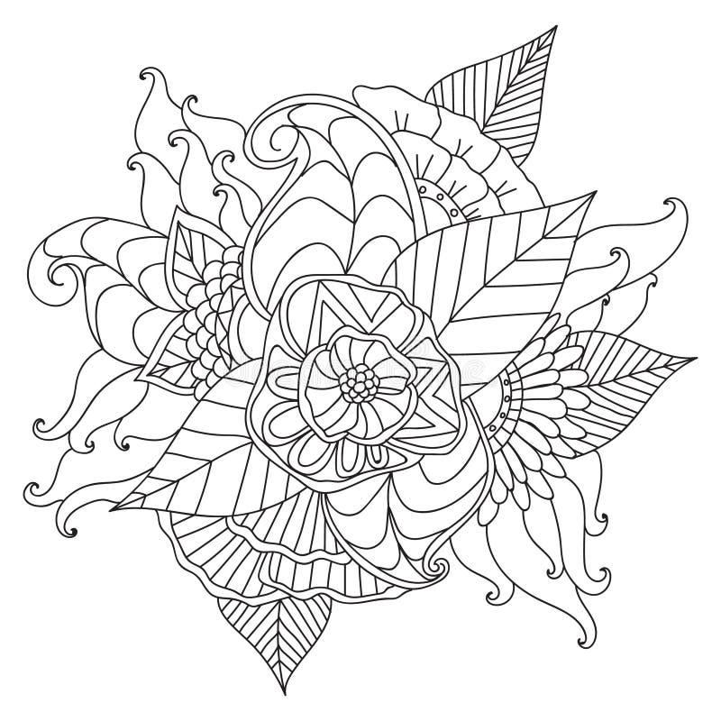 Hand getrokken etnisch sier gevormd bloemenkader royalty-vrije illustratie