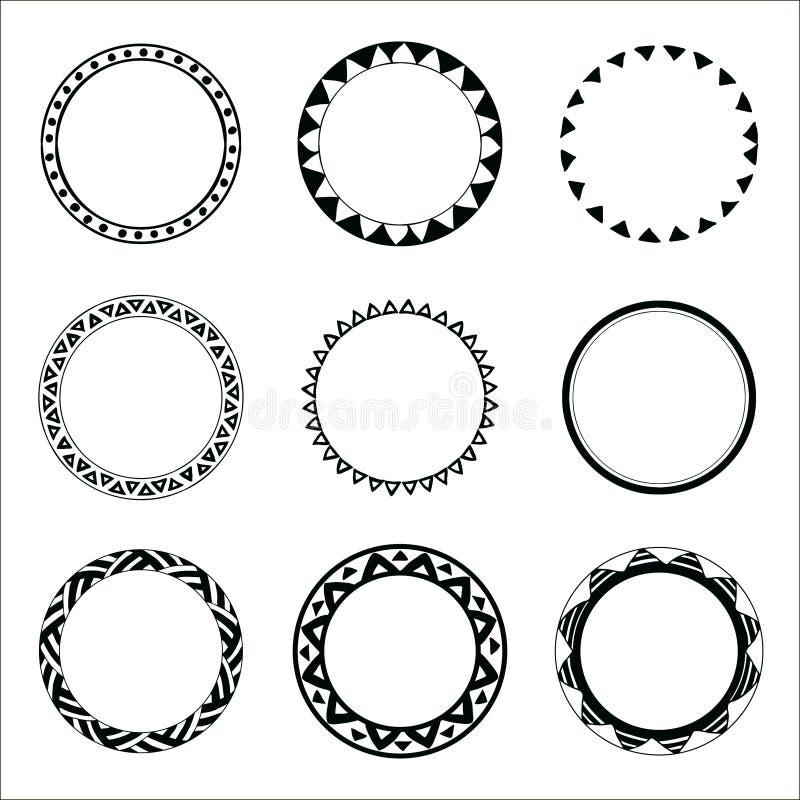Hand getrokken etnische cirkels Inktinzameling van symbolen vector illustratie