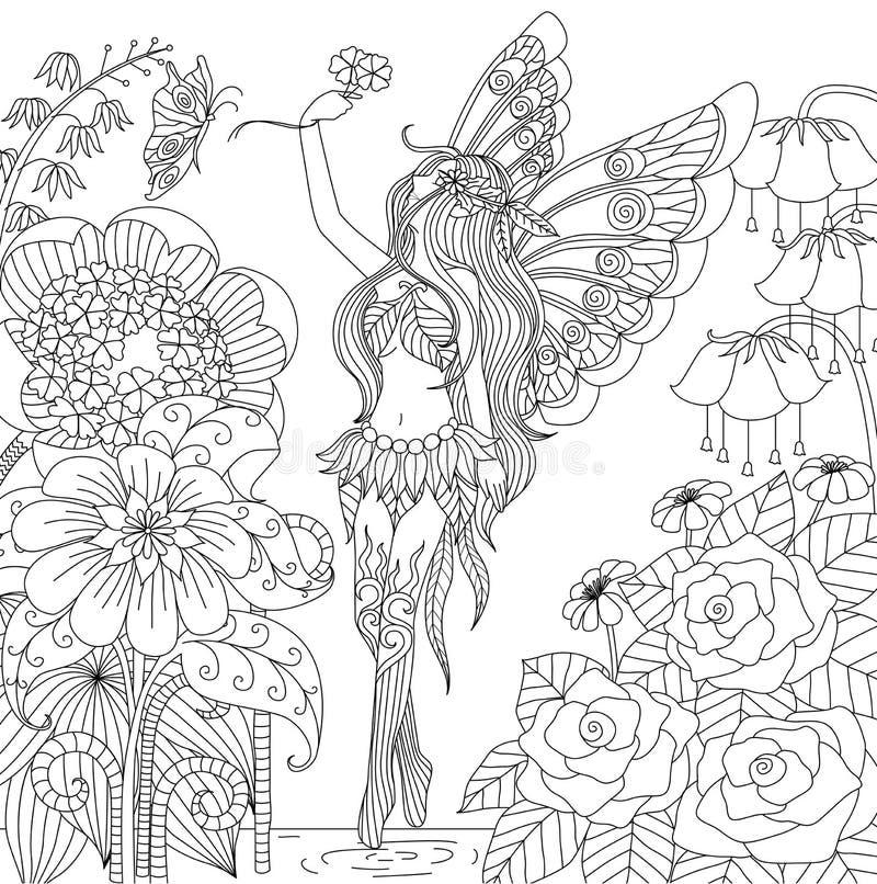 Hand getrokken fee die in bloemland vliegen voor het kleuren van boek voor volwassene stock illustratie