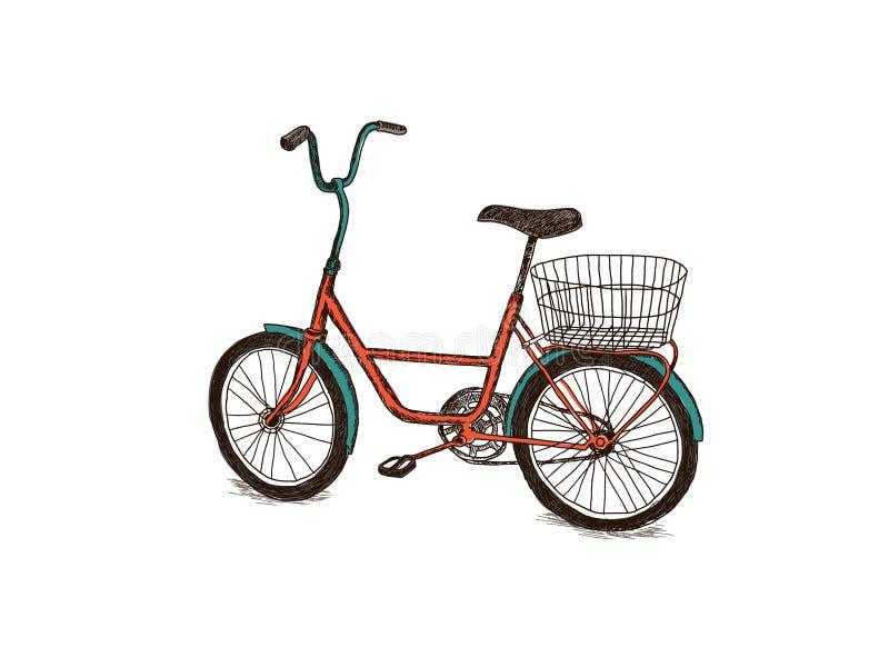 Hand getrokken fiets stock foto
