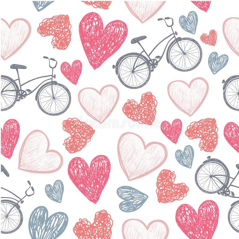 Hand getrokken fiets en hartenhuwelijk, valentijnskaart,