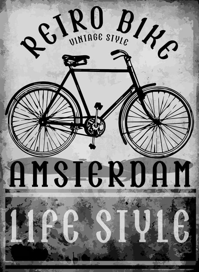Hand getrokken fiets in Europese de straatsport van Amsterdam vector illustratie