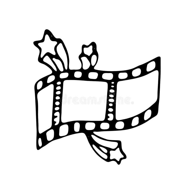Hand getrokken film en van de sterrenkrabbel pictogram Hand getrokken zwarte schets vector illustratie