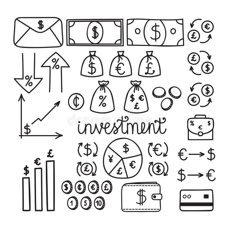 Hand getrokken financiële investeringspictogrammen Geld en van het muntstukkenpictogram reeks Financieel en bedrijfsconcept Het i stock illustratie