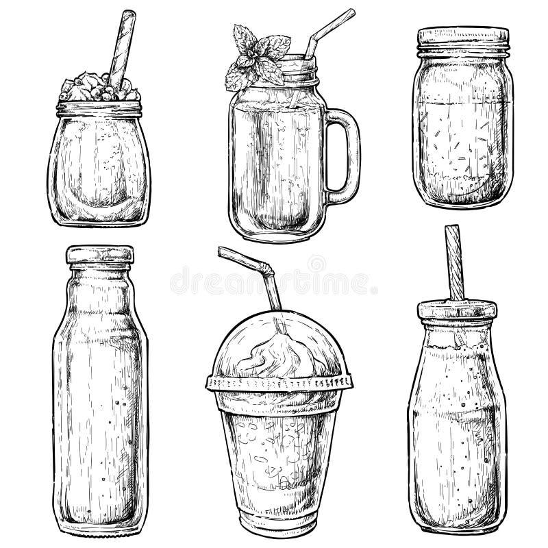 Hand getrokken flessen en containers voor smoothies Verse drank voor het gezonde leven, diëten Vectorillustratie voor groetkaarte vector illustratie