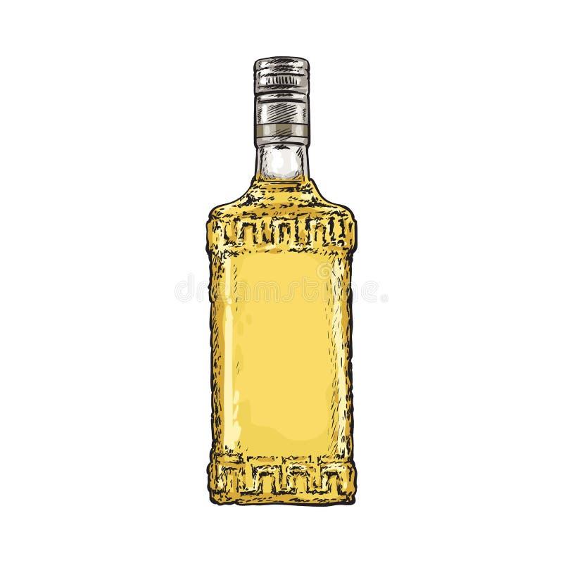 Hand getrokken flessenhoogtepunt van gouden tequila, vectorillustratie royalty-vrije illustratie