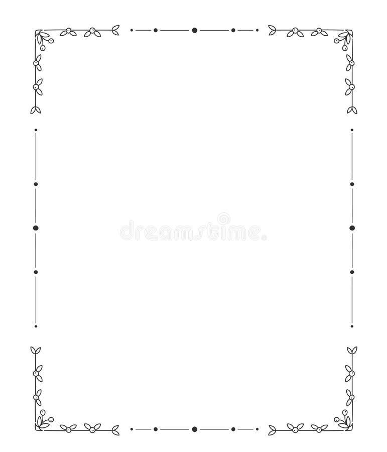 Hand getrokken frame r stock illustratie