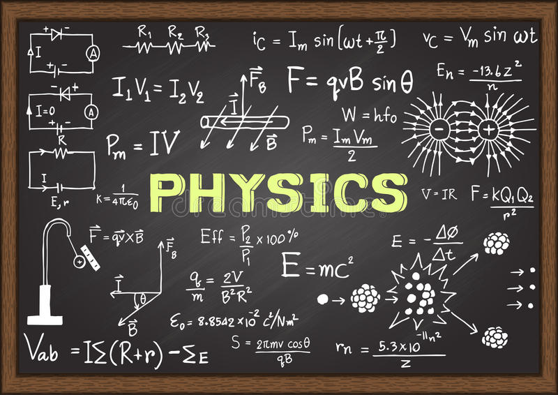 Hand getrokken fysica op bord stock illustratie