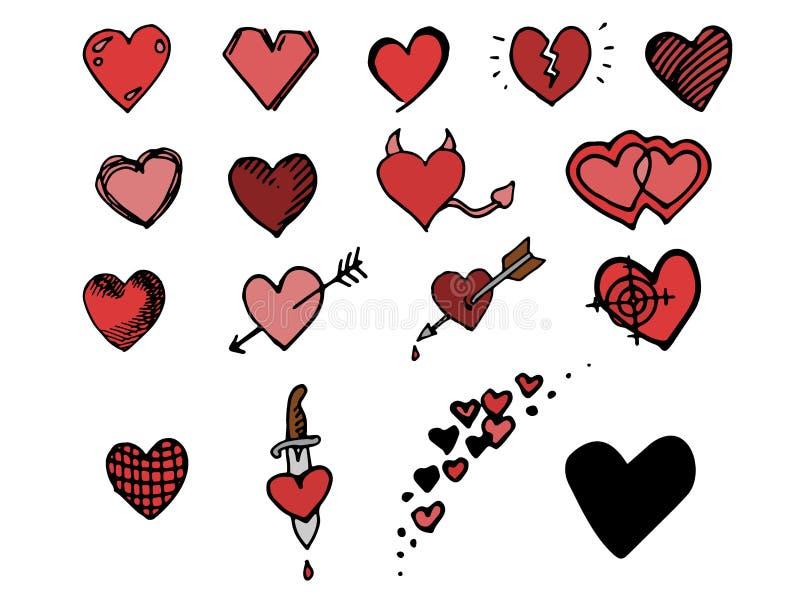Hand getrokken geïsoleerde geplaatste harten royalty-vrije illustratie