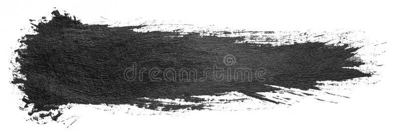 Hand getrokken geïsoleerde penseelstreep met vuile zwarte kleureninkt stock illustratie
