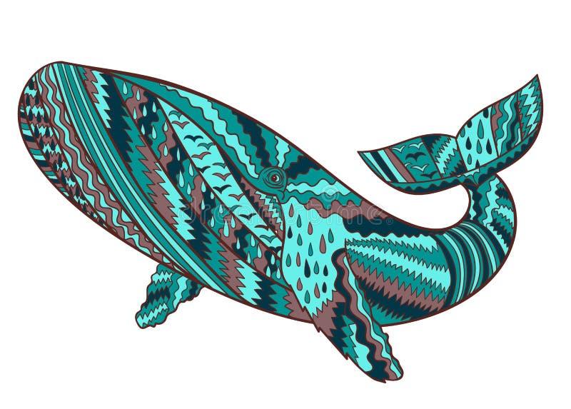 Hand getrokken gebocheldewalvis royalty-vrije illustratie