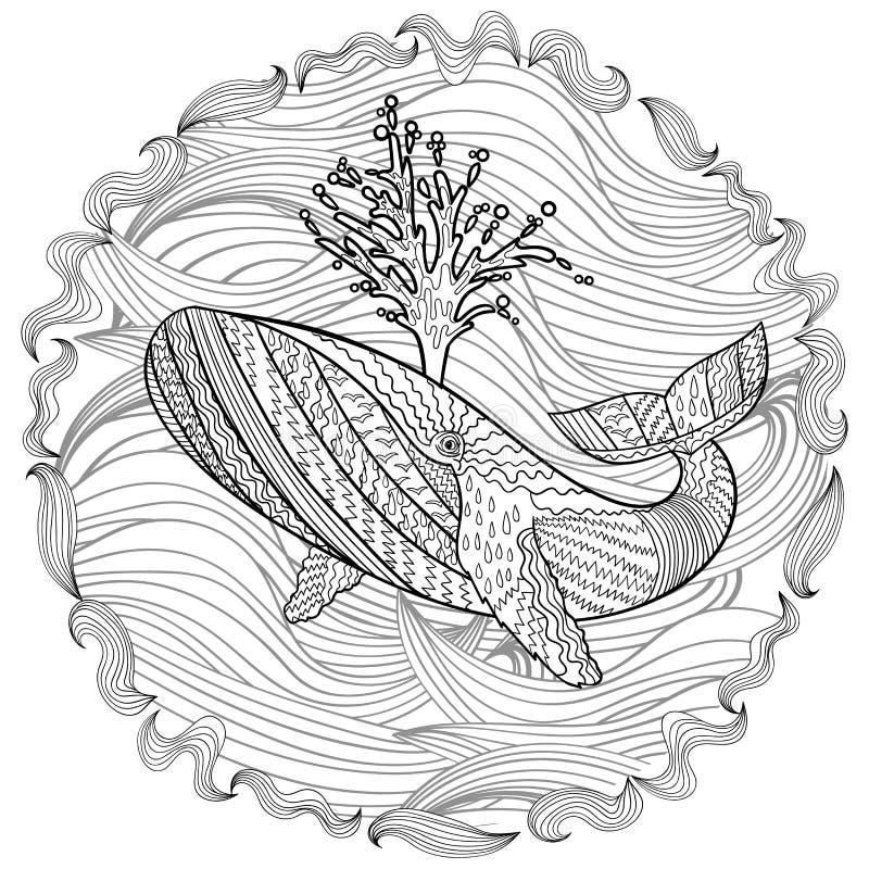 Hand getrokken gebocheldewalvis in de golven stock illustratie