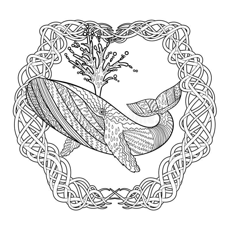 Hand getrokken gebocheldewalvis in de golven royalty-vrije illustratie